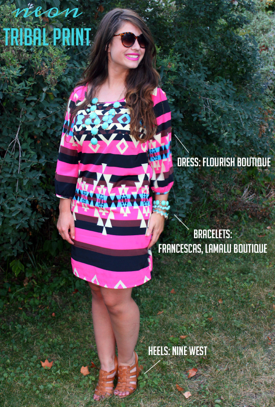 Neon Pink Tribal Print Dress