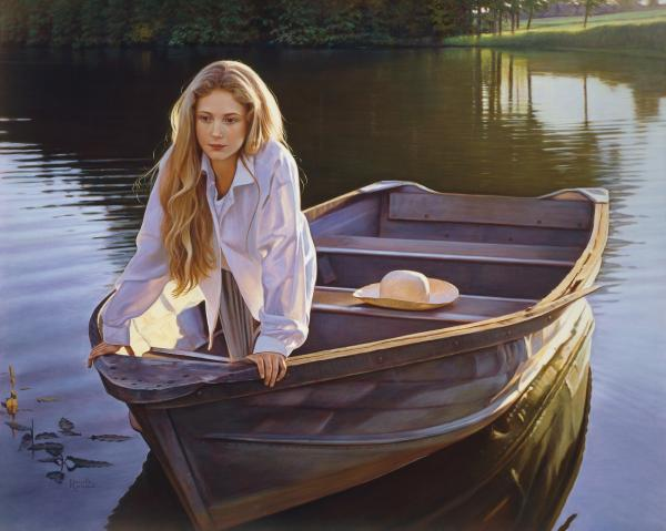femele in boat painting
