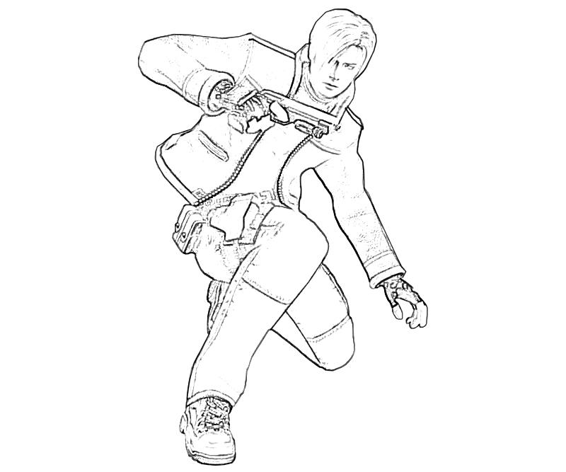 resident-evil-leon-s-kennedy-action-coloring-pages