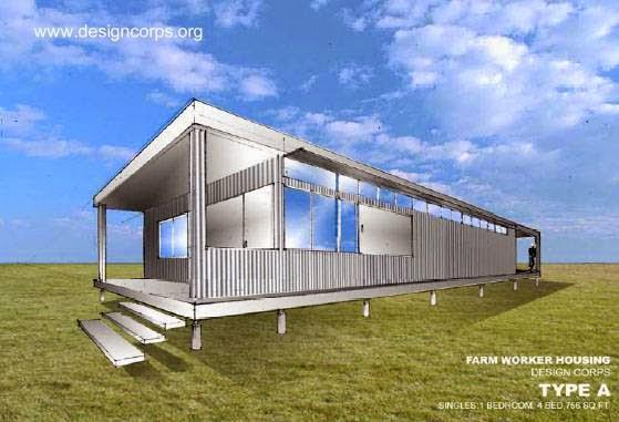 Dibujo de un proyecto de viviendas para trabajadores rurales en Estados Unidos