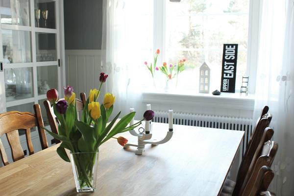 färgglada tulpaner på bordet,