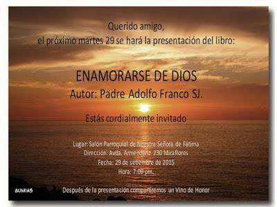 """Presentación del libro: """"Enamorarse de Dios"""" - Autor P. Adolfo Franco sj"""