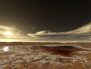 Испаряющееся соленое озеро в кратере Гусева; начало амазонийской эры.