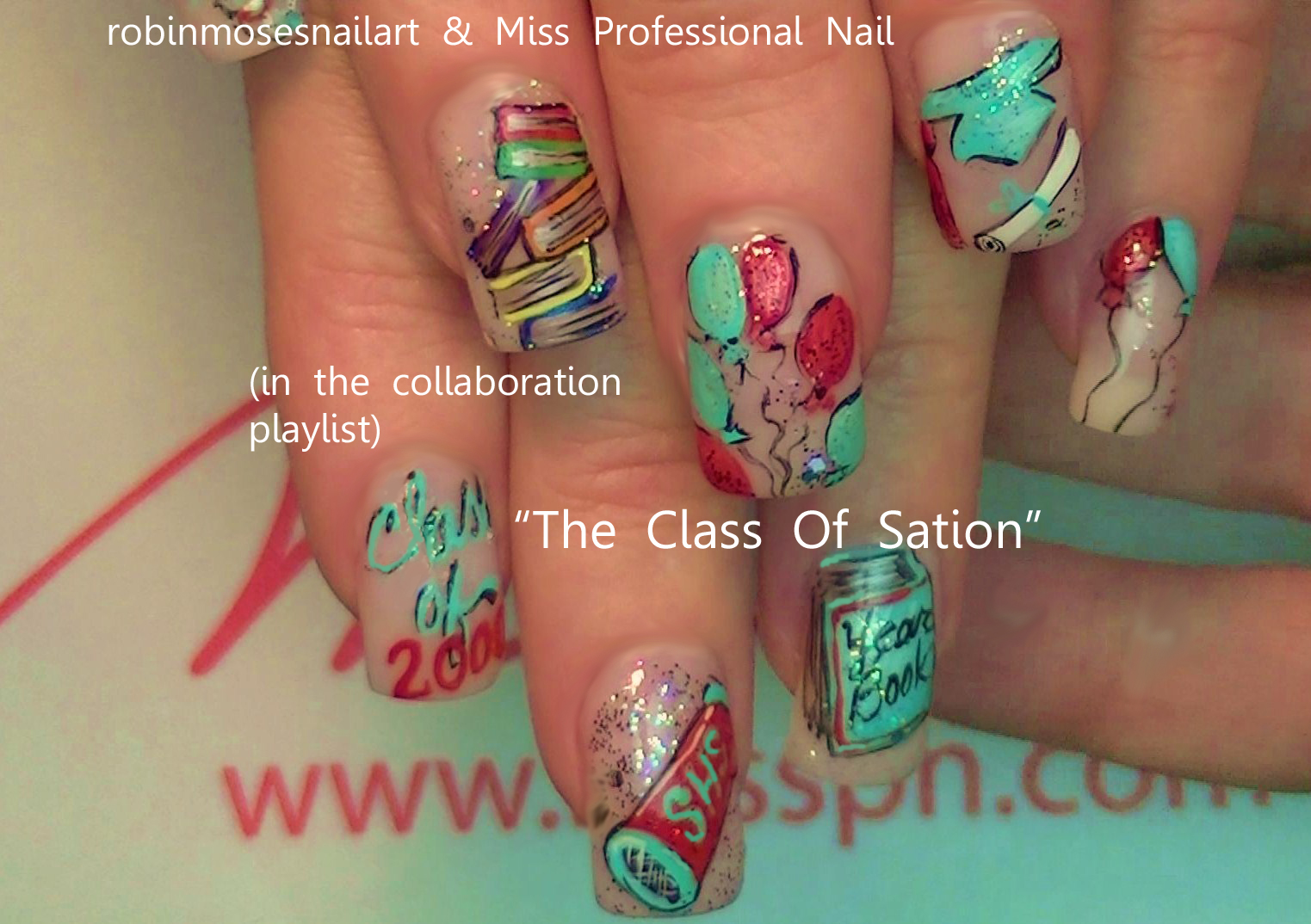 Robin moses nail art robin moses school nails back to school robin moses school nails back to school nails graduation nails class reunion nails party nails balloon nails book nails the class of sation prinsesfo Choice Image
