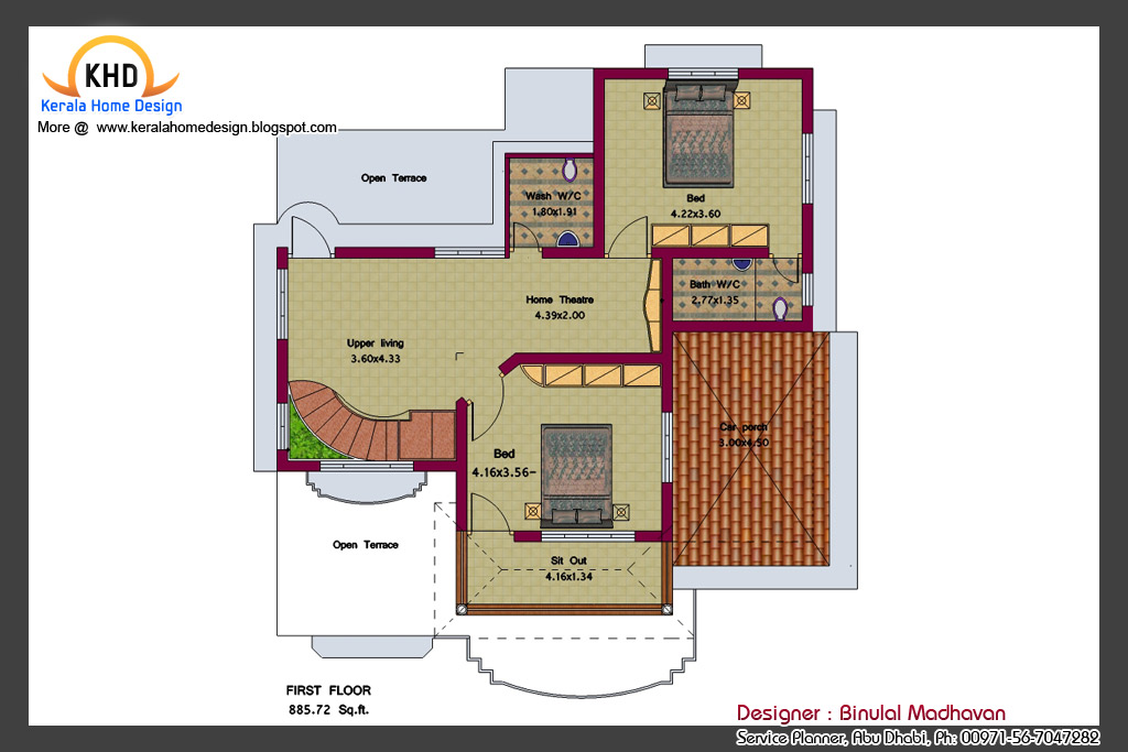 House Plan and Elevation - 2292 Sq. Ft. ~ Kerala House Design Idea