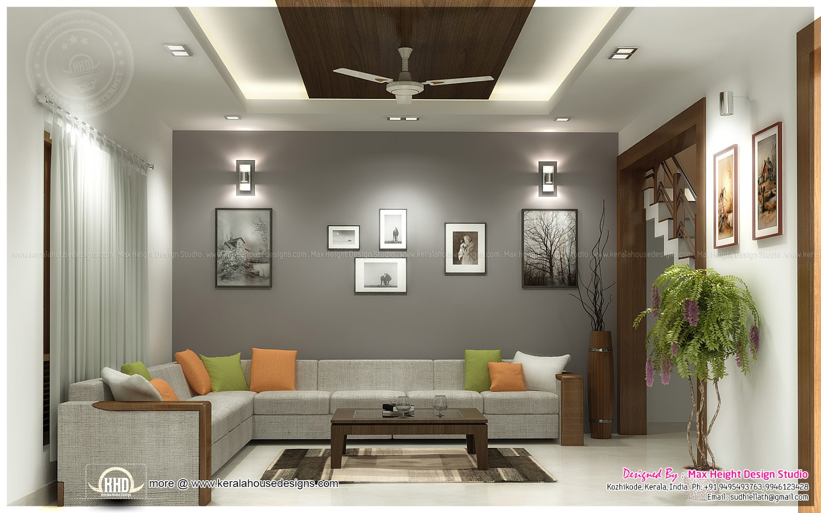 Beautiful interior ideas for home home kerala plans for Interior decoration living room roof