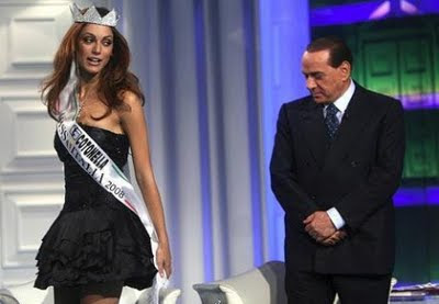 Silvio Berlusconi eyeing a handsome girs (Miss Italia candidate)