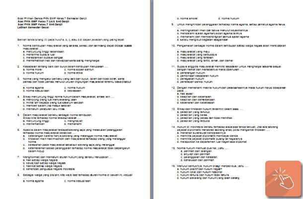 Contoh Soal UAS PKn Kelas 7 8 9 SMP