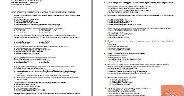 Contoh Soal Uas Pkn Kelas 7 8 9 Smp Sisi Edukasi File