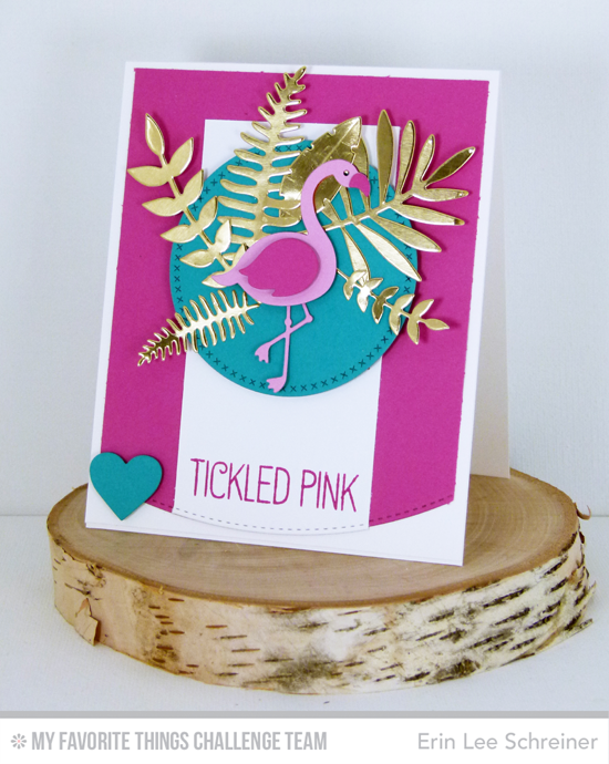 Tickled Pink Card by Erin Lee Schreiner featuring the Laina Lamb Design Tickled Pink stamp set and Flamingo Die-namics