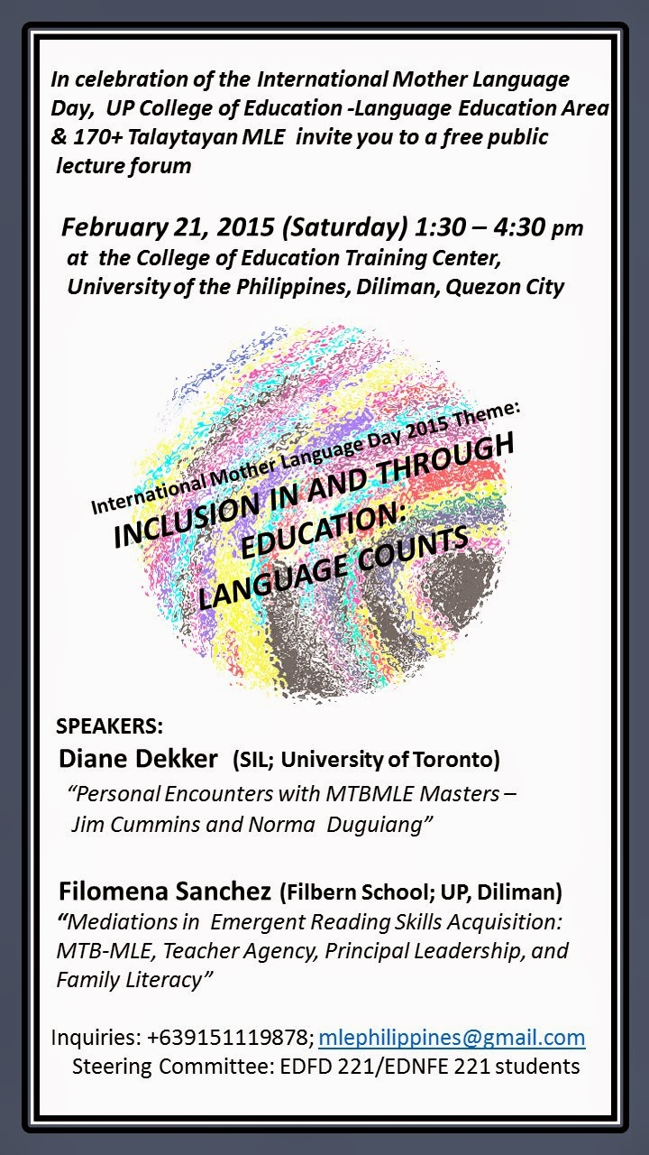 mother tongue based multilingual education mtbmle we are holding a modest celebration of imld at the college of education up diliman