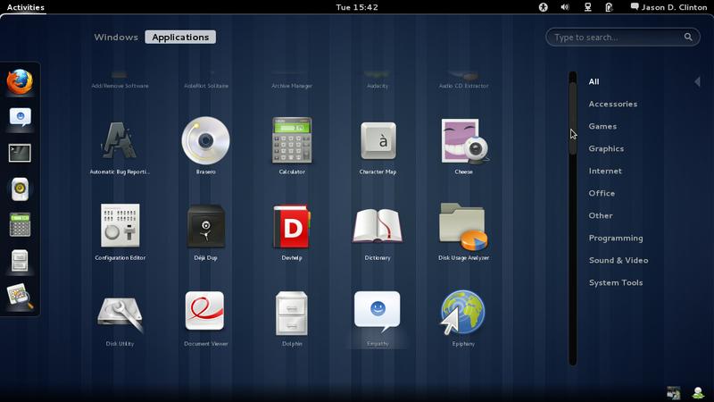 Tampilan desktop GNOME 3
