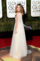 Lily James sexy in a semi-sheer white dress at the 2016 Golden Globe Awards red carpet photo