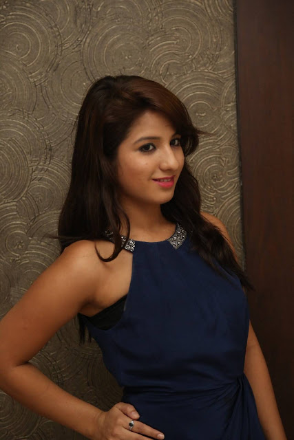 Actress Shunaya Solanki Stills in Blue Dress