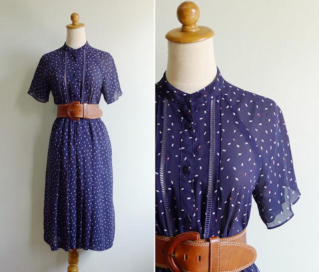 vintage navy blue dress flutter sleeve