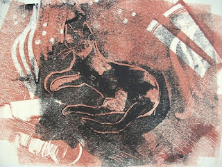 Cat monotype print