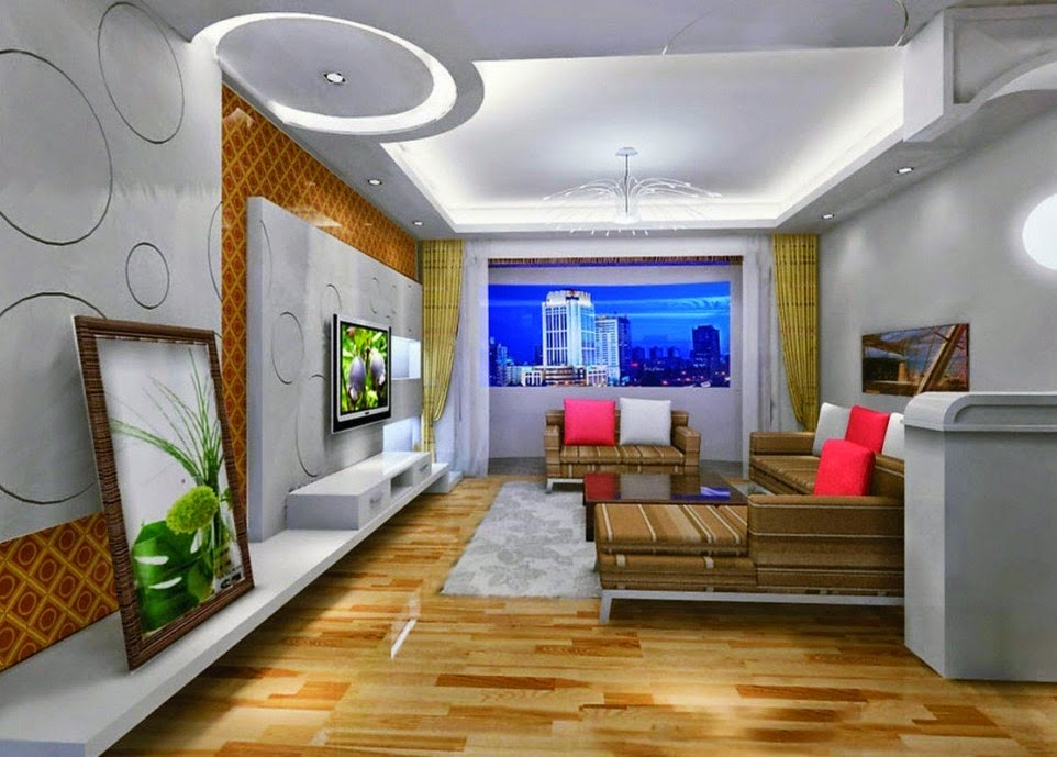 5 gypsum false ceiling designs with led ceiling lights for for Living room gypsum ceiling designs