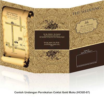 Contoh Undangan Pernikahan Coklat Gold (HCGD-07)