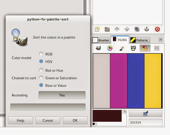 Sorting the colors in a Gimp palette according to different ways.