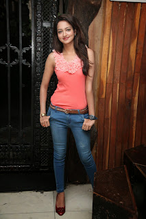 Shanvi Looks Super Cute in Denum Jeans and Lovely Pink Tank Top