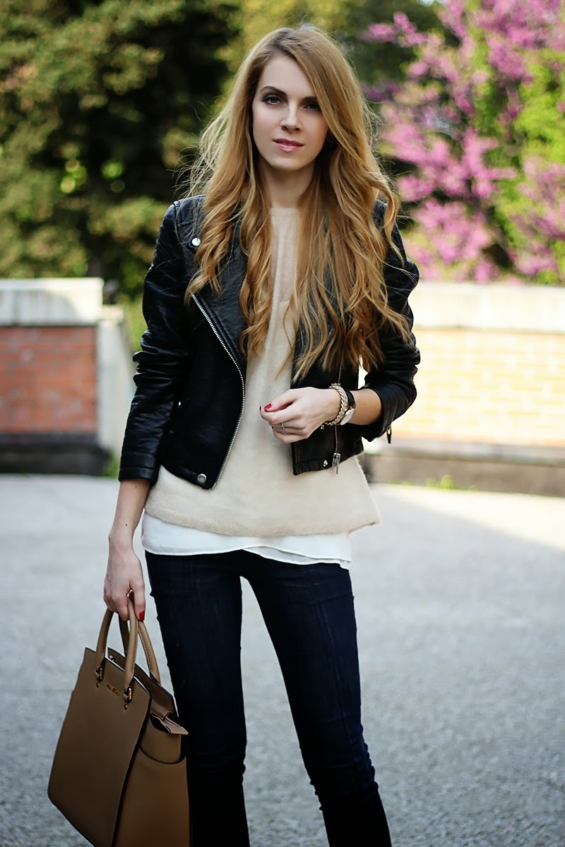 leather moto jacket, pastels, Michael Kors Selma Satchel