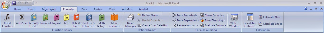 Tutorial Excel 2007 : Fungsi Menu Formula