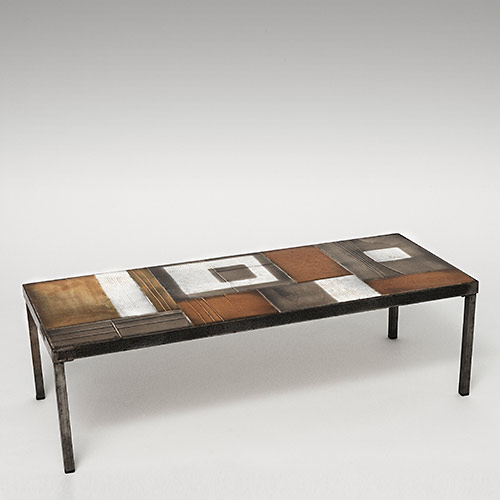 galerie riviera roger capron table basse coffee table with glazed lava tiles. Black Bedroom Furniture Sets. Home Design Ideas