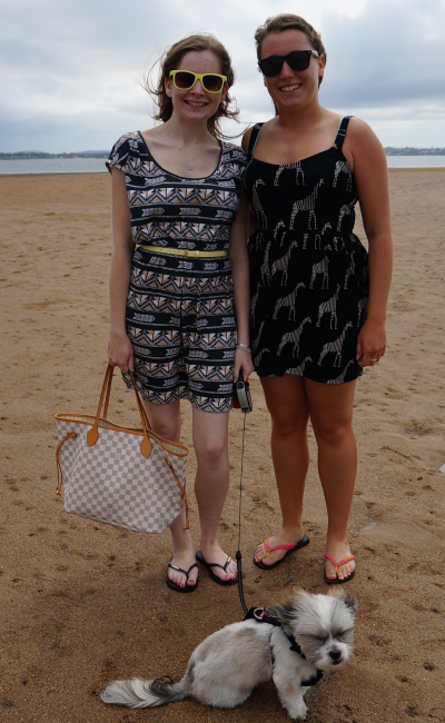 Family day at beach sister printed sun dresses LV neverfull funny cooper windy