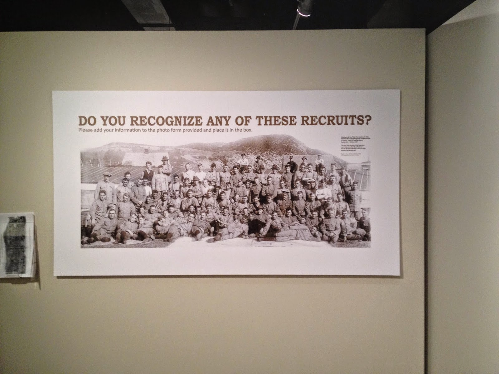 "The Rooms Museum ""Do you recognize any of these recruits"" for ""Collecting the Great War"". historic image of royal Newfoundland regiment"