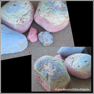 photo of: Sidewalk Chalk on Rocks as Three Dimensional Exploration of Sculpture Forms