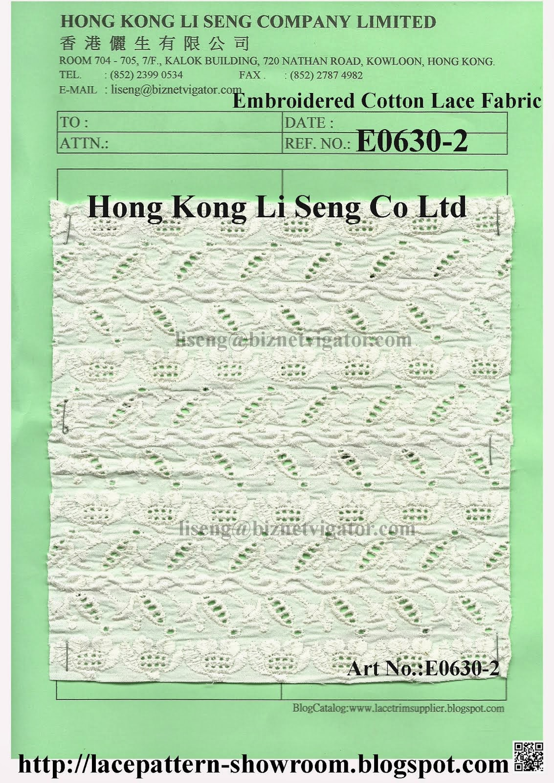 Embroidered Cotton Lace Fabric Manufacturer Wholesale and Supplier - Hong Kong Li Seng Co Ltd