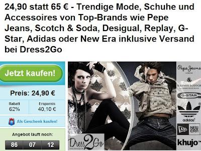 Groupon: 65€-Gutschein für Dress2Go zum Preis von 24,90€ (inklusive Versand)