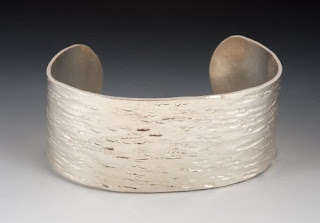 Sterling Silver Cuff with pinstripe texture  by dianewrightdesigns