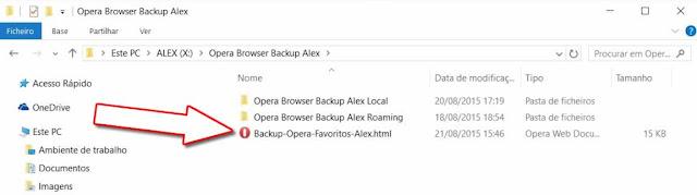 Cópia Segurança Favoritos Opera Browser Html
