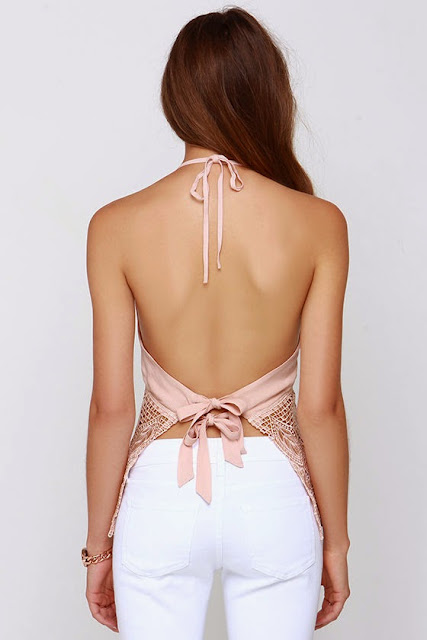 Fest Assured Blush Lace Halter Top $35,00