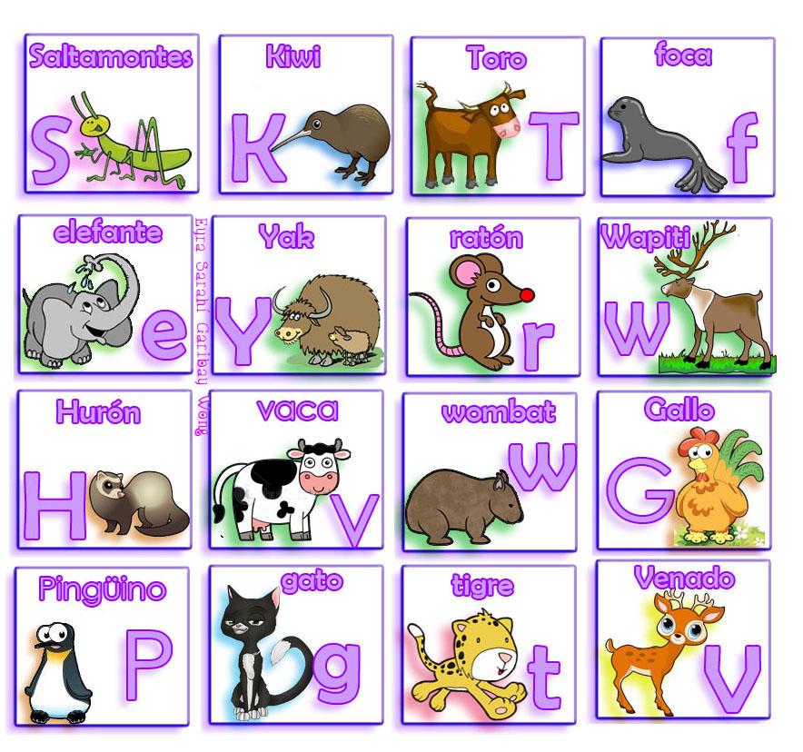 El Lenguaje de los Niños: Lotería de Letras y animales.