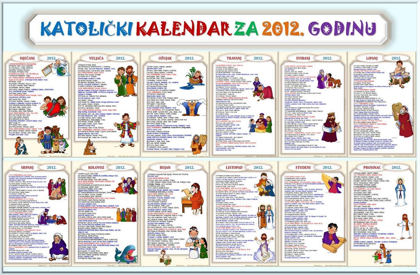 Katolički kalendar za 2012. godinu