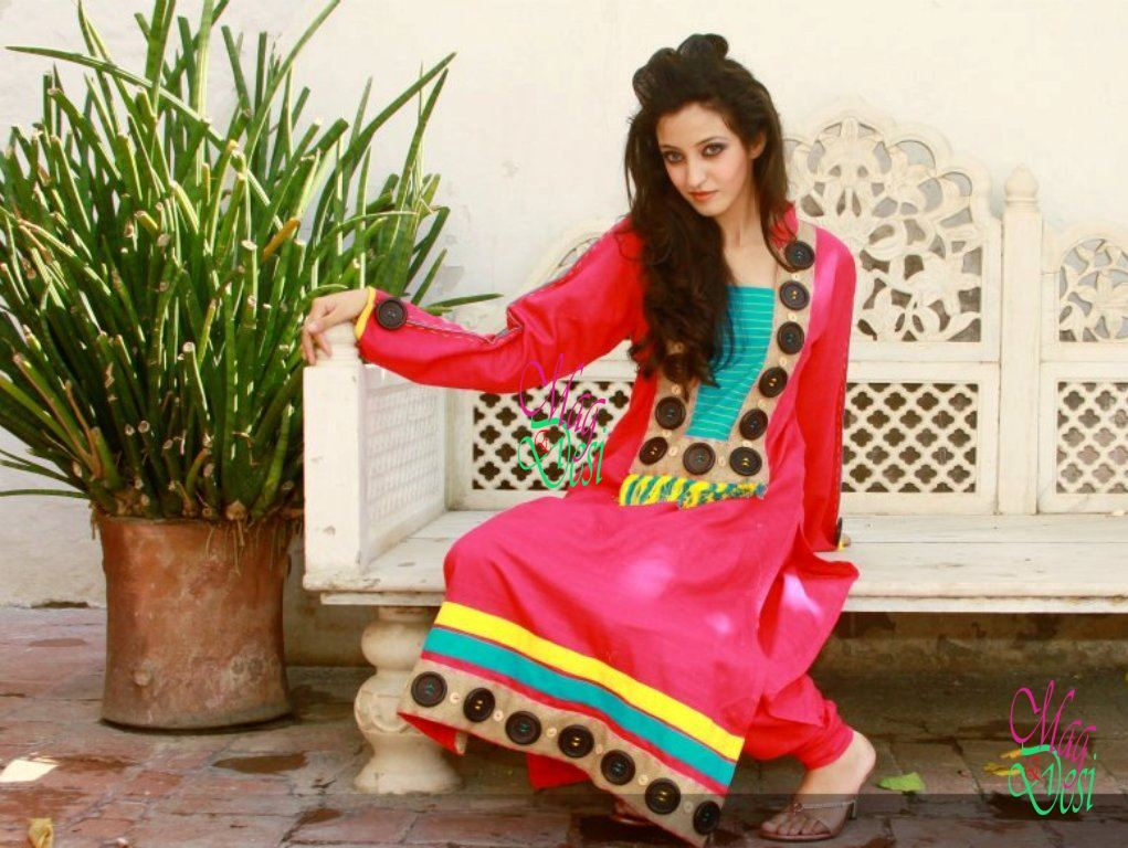 Gorgeous Bright Colored Long Frock Churidar Pajama Eid Collection ...
