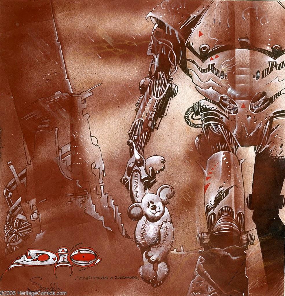 Dessin de Simon Bisley représentant un robot tenant un ours en peluche, pochette d'album du groupe dio