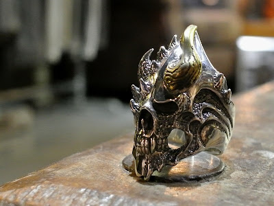 Strange Freak Designs Eyeless Skull Ring Evil Horn Version