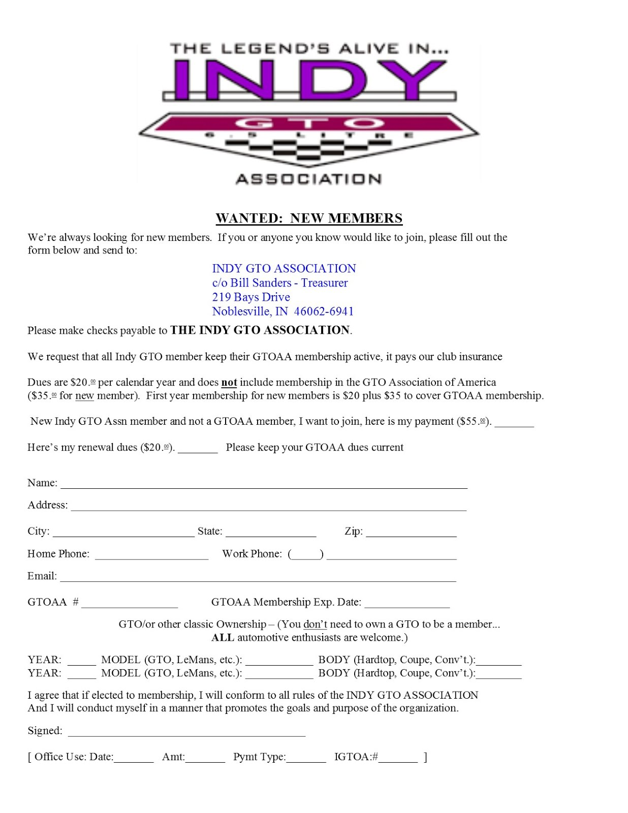 INDY GTO ASSOCIATION MEMBERSHIP FORM   --   Right Click to Open and Print