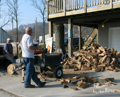 Builder Bob splitting wood