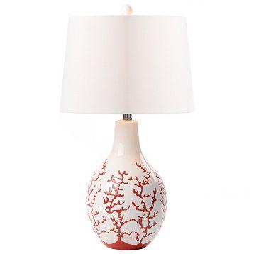 red coral ceramic lamp kirkland 39 s sale. Black Bedroom Furniture Sets. Home Design Ideas