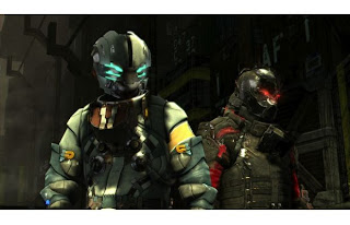 Isaac Clarke and John Carve from Dead Space 3 in their RIG suits