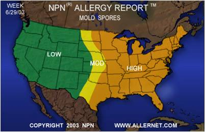 Environmental Health Mold Allergy - Best place in us for allergies map