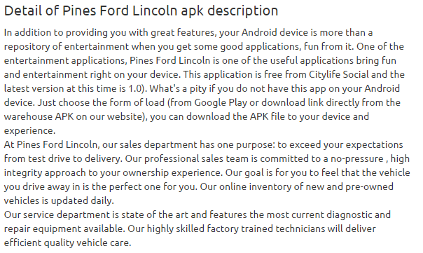 Pines Ford Lincoln 1.0 apk
