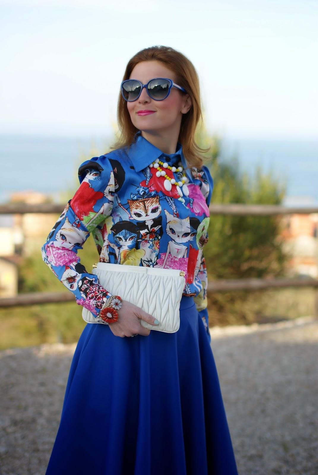 cats print shirt, romwe cats shirt, Marc by Marc Jacobs sunglasses, Loriblu pink heels, Fashion and Cookies, fashion blogger