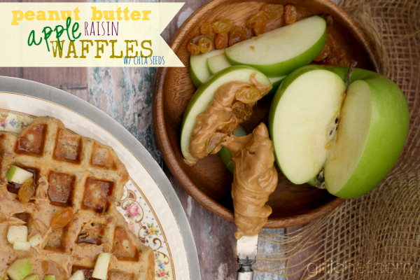 Peanut Butter Apple Raisin Waffles w/ Chia Seeds + a Better Breakfast Month Giveaway | girlichef.com