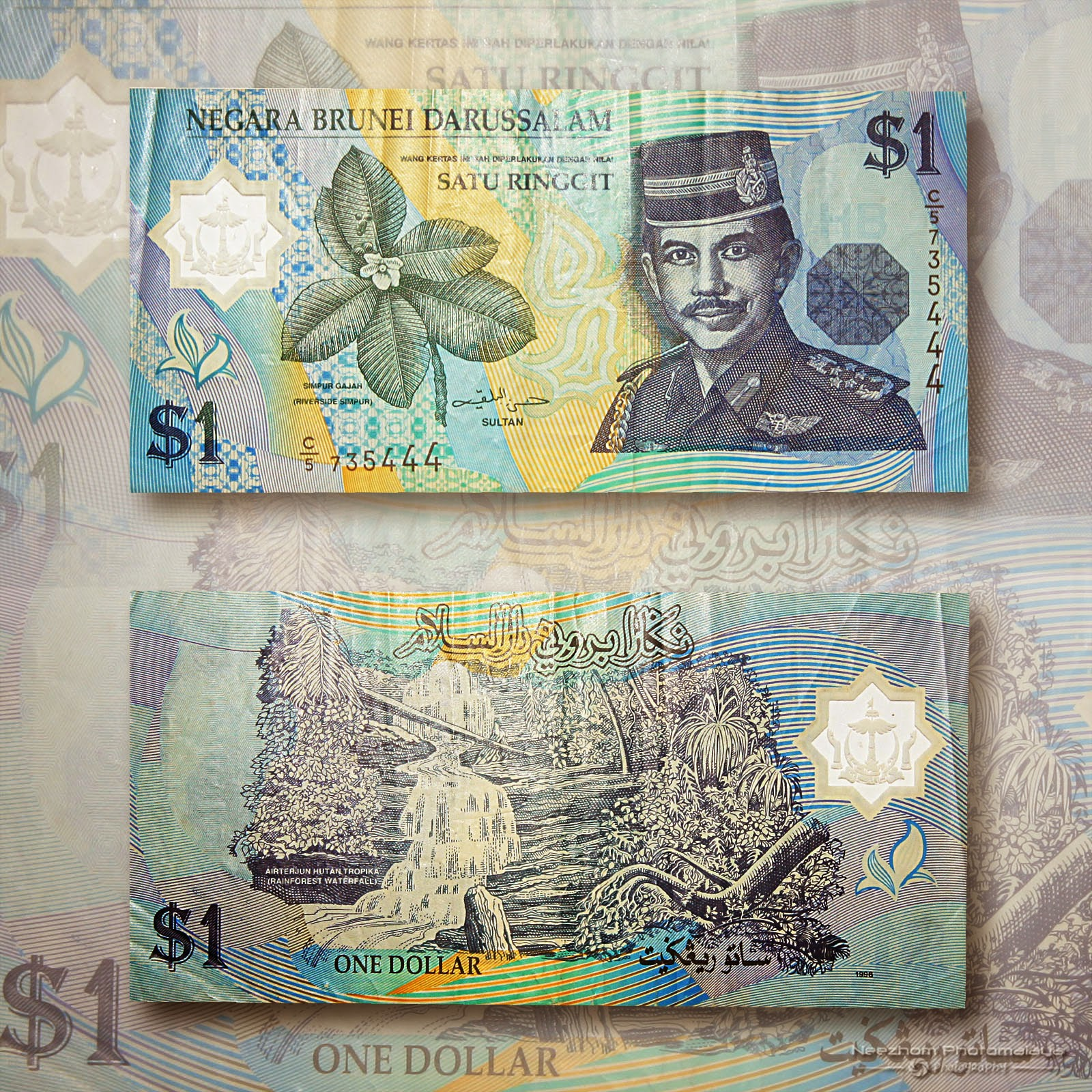 One Dollar Brunei 1996 polymer banknote