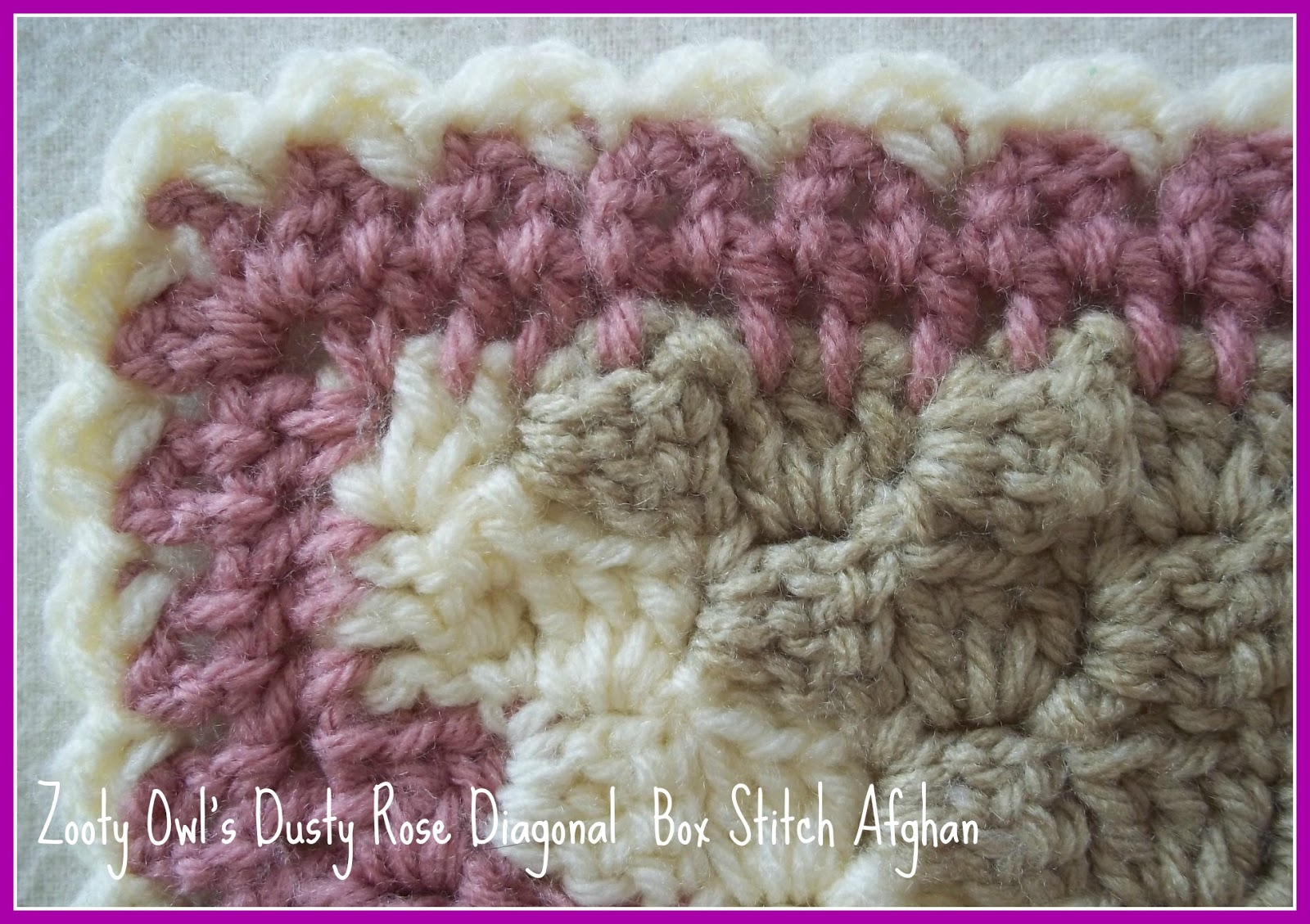 Zooty Owl\'s Crafty Blog: Diagonal Box Stitch Afghan - Dusty Rose